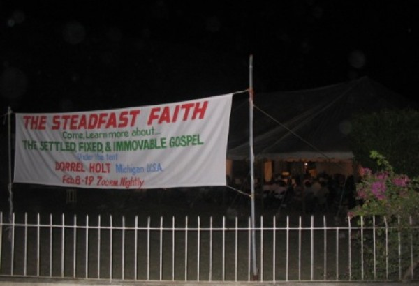 The Banner advertising the meeting is on